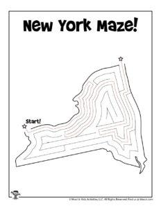 New York United States Maze for Kids - KEY