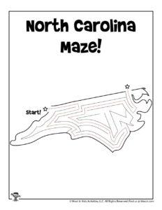 North Carolina Coloring Maze Worksheet