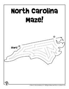 North Carolina Coloring Maze Worksheet - KEY