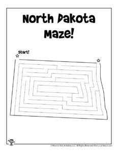North Dakota Maze Worksheet Free Printable
