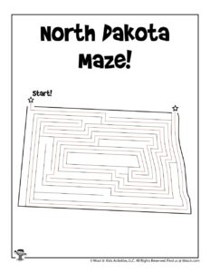 North Dakota Maze Worksheet Free Printable - KEY