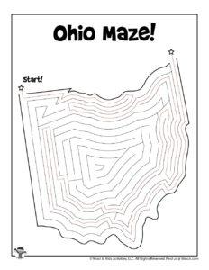 Ohio Learn the States Printable Kids Activity - KEY