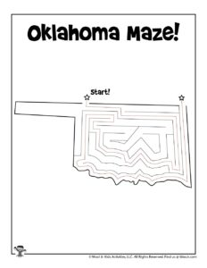 Oklahoma Printable Mazes of the US - KEY