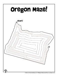 Oregon Easy Maze Activity Page - KEY