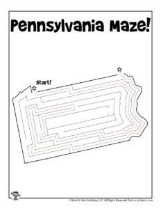 Pennsylvania Maze Activity Worksheet - KEY