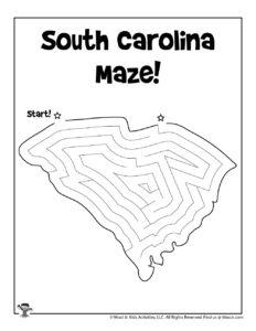 South Carolina Free Maze Puzzle for Kids
