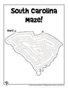 South Carolina Free Maze Puzzle for Kids - KEY