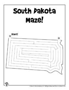 South Dakota Printable USA State Mazes