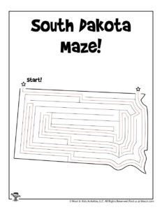 South Dakota Printable USA State Mazes - KEY