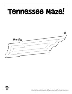 Tennessee Printable Map Maze for Kids