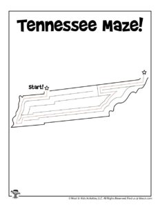 Tennessee Printable Map Maze for Kids - KEY