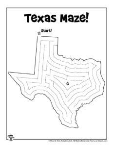 Texas Maze Puzzle Activity Page