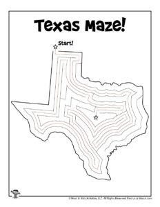 Texas Maze Puzzle Activity Page - KEY