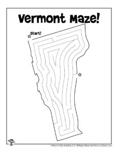 Vermont Printable US State Maze Worksheet