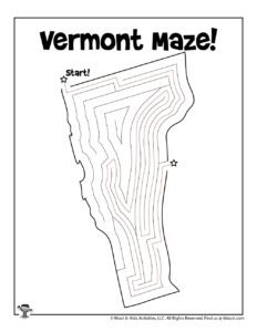 Vermont Printable US State Maze Worksheet - KEY
