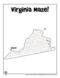 Virginia Easy Mazes of United States - KEY
