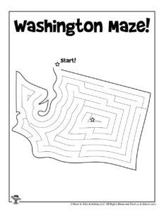 Washington Maze Activity Pages of 50 States