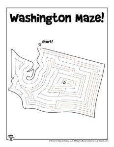 Washington Maze Activity Pages of 50 States - KEY