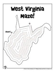 West Virginia Adventure Maze for Kids - KEY