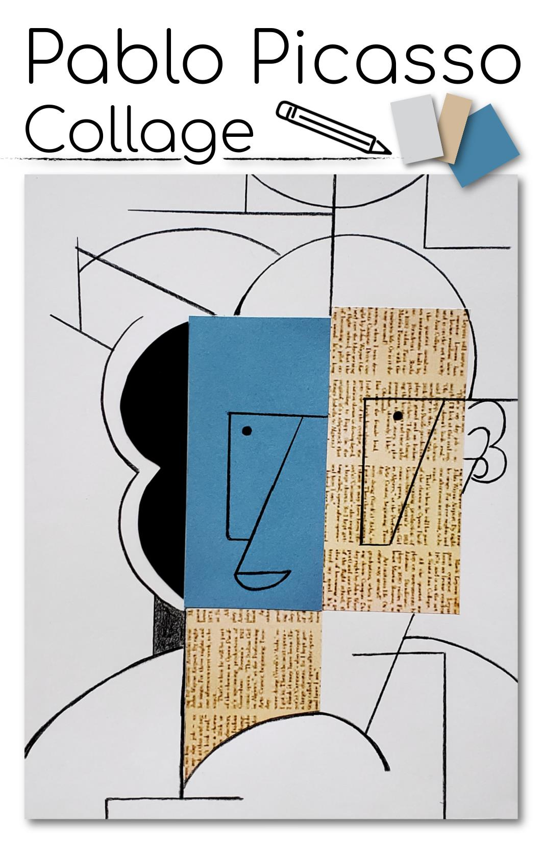 Picasso Art Project for Kids - Paper Collage for Grades 2-4