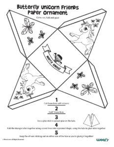 Butterflies & Unicorns Printable Ornament