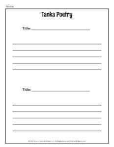 Tanka Poem Worksheet