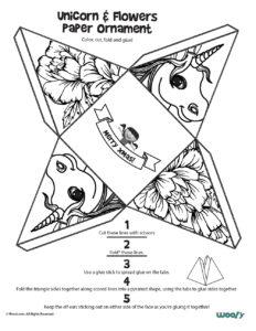 Printable Unicorn Ornament Coloring Page