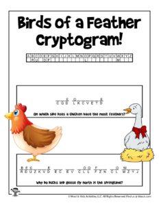 Cryptograms Animal Word Puzzle Worksheet