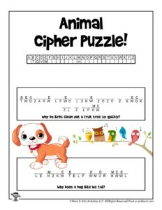 Animal Cryptogram Cipher Puzzle Worksheet to Print