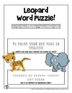 Animal Riddles Word Puzzle - KEY