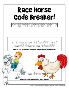 Race Horse Riddles Word Puzzles for Kids