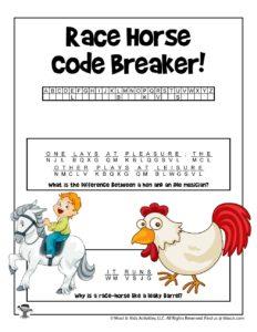 Race Horse Animal Word Puzzles - KEY