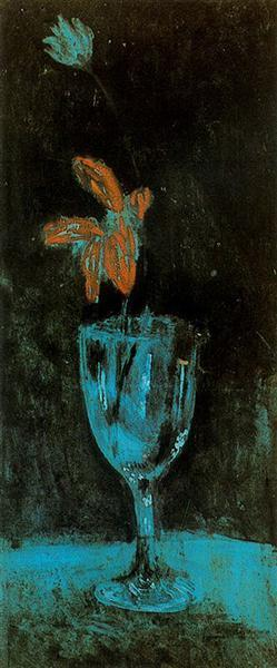 a painting from Picasso's Blue Period, A Blue Vase, 1903