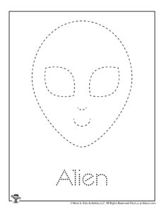Space Alien Tracing & Coloring Activity Page