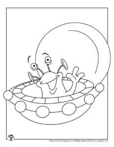 UFO Alien Printable Coloring Page