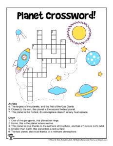 Planet Crossword Puzzle Printable Activity