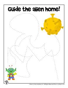 Outer Space Tracing Preschool Worksheet