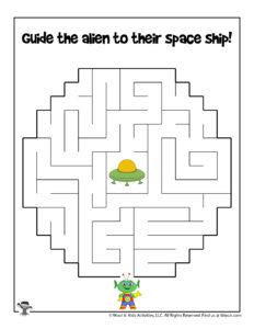 Outer Space Maze Puzzle Activity