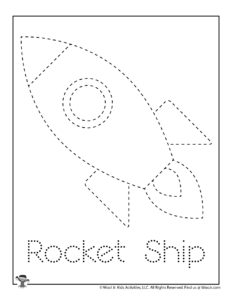 Rocket Ship Easy Tracing Worksheet