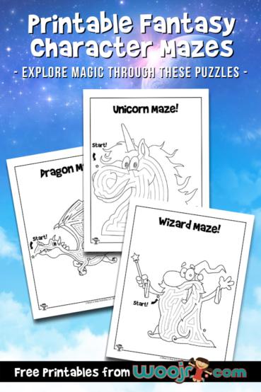 Printable Fantasy Character Mazes