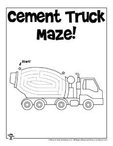 Cement Truck Transportation Maze for Kids
