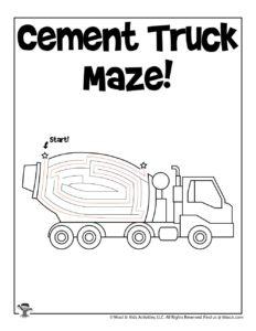 Transportation Activity Maze for Kids - KEY