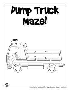 Dump Truck Maze Worksheet for Kids