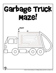 Garbage Truck Transportation Mazes - ANSWER KEY