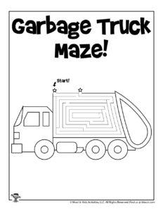 Transportation Coloring Maze Activity Worksheet