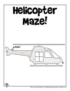 Helicopter Maze Printable Activity Page - KEY