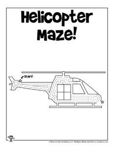 Helicopter Transportation Kids Activity Worksheet