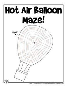 Hot Air Balloon Printable Mazes for Kids - KEY