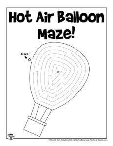 Hot Air Balloon Printable Coloring Maze