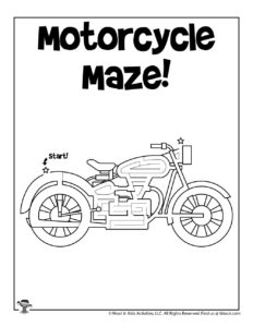 Motorcycle Free Printable Mazes for Kids